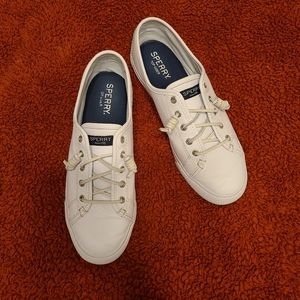 SPERRY TOP-SIDER WHITE LEATHER SNEAKERS 10M